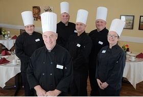 senior living group of chefs