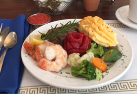 lunch plate shrimp potato vegetables