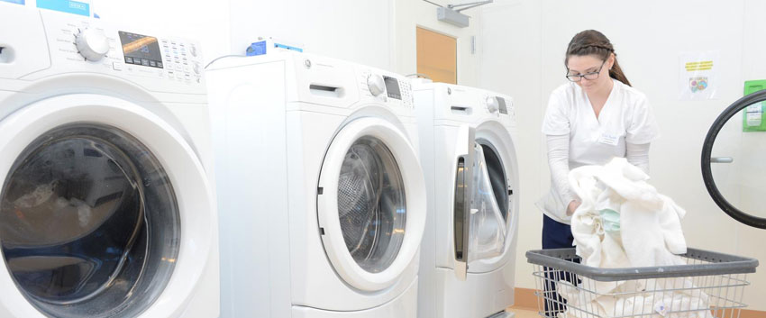 laundry room at senior living facility